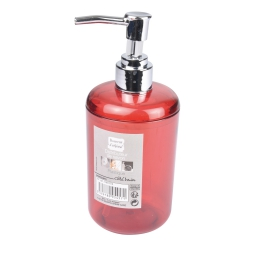 distributeur savon plastique translucide vitamine rouge