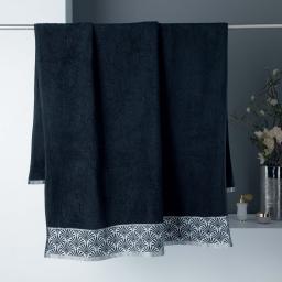 Drap de bain 90 x 150 cm absorbant éponge 450gr/m² goldy Noir/argent