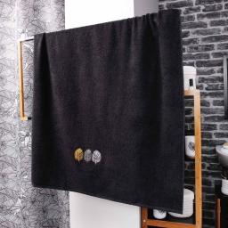 Drap de bain 90 x 150 cm eponge brodee fougerys Noir