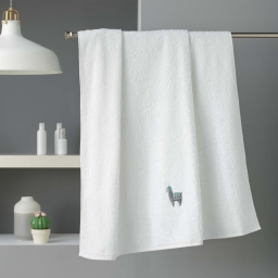 Drap de bain 90 x 150 cm eponge brodee lamalima Blanc