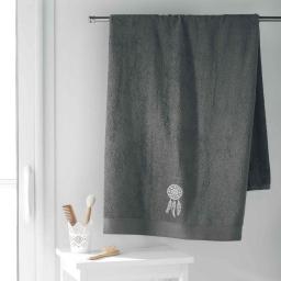 Drap de bain 90 x 150 cm eponge brodee talisman Anthracite