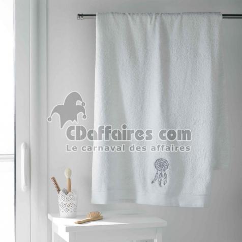 Drap de bain 90 x 150 cm eponge brodee talisman Blanc