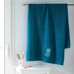 Drap de bain 90 x 150 cm eponge brodee talisman Bleu