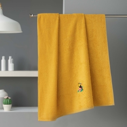 Drap de bain 90 x 150 cm eponge brodee toucalaos Jaune