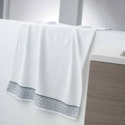 Drap de bain 90 x 150 cm eponge unie jacquard adelie Blanc