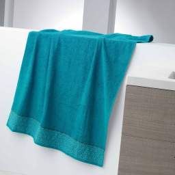 Drap de bain 90 x 150 cm eponge unie jacquard adelie Bleu