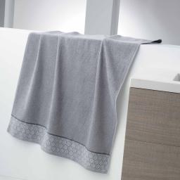Drap de bain 90 x 150 cm eponge unie jacquard adelie Gris