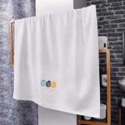 Drap de bain absorbant  90 x 150 cm eponge brodée fougerys Blanc