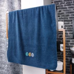 Drap de bain absorbant 90 x 150 cm eponge brodée fougerys Bleu