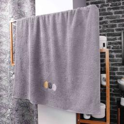 Drap de bain absorbant 90 x 150 cm eponge brodée fougerys Gris