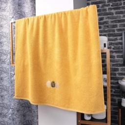 Drap de bain absorbant 90 x 150 cm eponge brodée fougerys Jaune