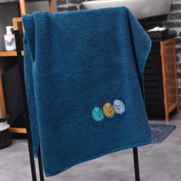 Drap de douche absorbant 70 x 130 cm eponge brodee fougerys Bleu