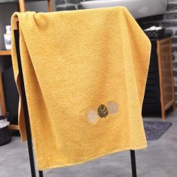 Drap de douche absorbant 70 x 130 cm eponge brodee fougerys Jaune