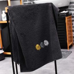 Drap de douche absorbant 70 x 130 cm eponge brodee fougerys Noir
