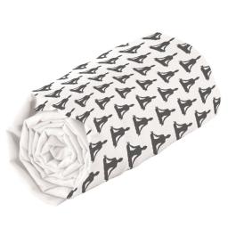 Drap housse 1 personne 90 x 190 cm imprime 57 fils allover yoga Blanc/Anthracite