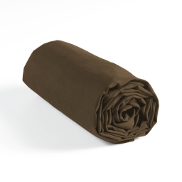 Drap housse 1 personne 90 x 190 cm jersey uni jersy Chocolat