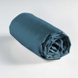 Drap housse 1 personne 90 x 190 cm uni 57 fils lina Bleu nuit