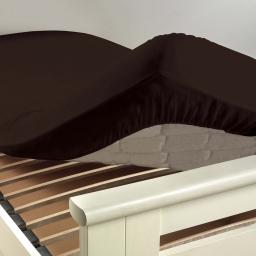 Drap housse 1 personne 90 x 190 cm uni 57 fils lina Cacao