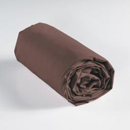 Drap housse 1 personne 90 x 190 cm uni 57 fils lina Chocolat