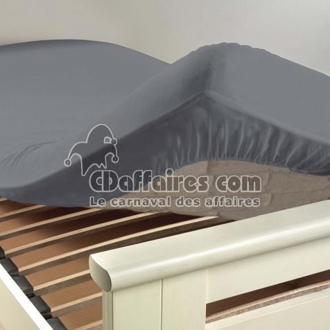 drap housse 1 personne 90 x 190 cm uni 57 fils lina gris souris cdaffaires. Black Bedroom Furniture Sets. Home Design Ideas