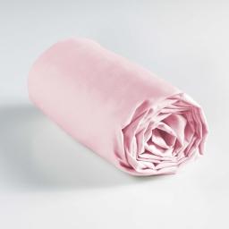 Drap housse 1 personne 90 x 190 cm uni 57 fils lina Rose clair