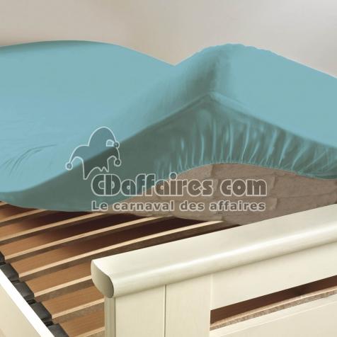 Drap housse 2 personnes 140 x 190 cm uni 57 fils lina aqua for Drap housse plastique