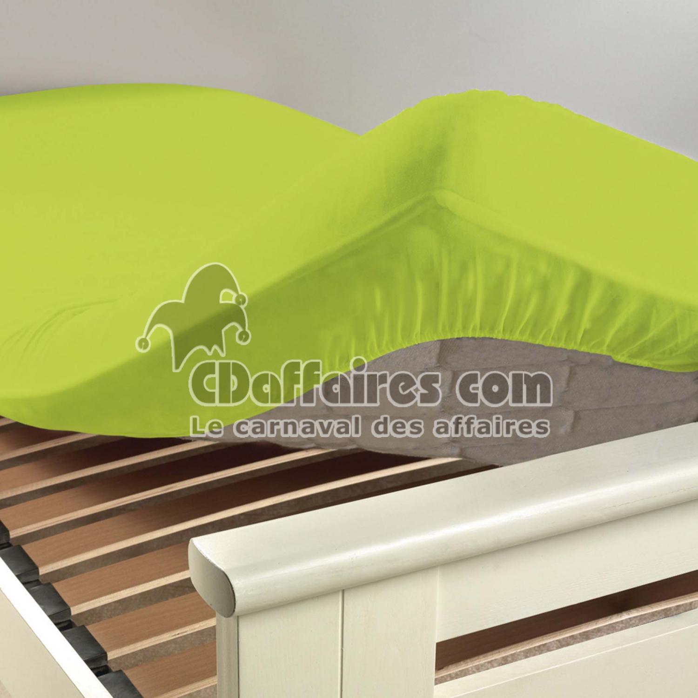 drap housse 2 personnes 140 x 190 cm uni 57 fils lina pistache cdaffaires. Black Bedroom Furniture Sets. Home Design Ideas