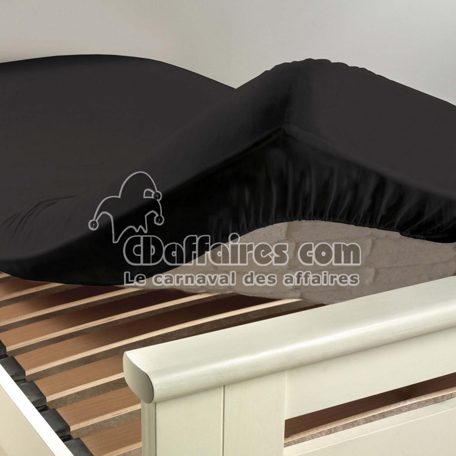 drap housse 2 personnes 160 x 200 cm uni 57 fils lina charbon cdaffaires. Black Bedroom Furniture Sets. Home Design Ideas