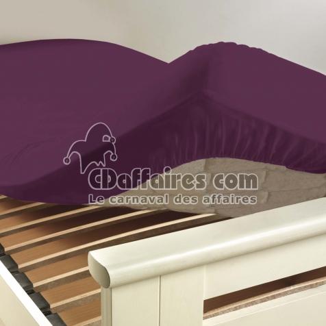 drap housse 2 personnes 160 x 200 cm uni 57 fils lina myrtille cdaffaires. Black Bedroom Furniture Sets. Home Design Ideas