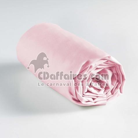 Drap housse 2 personnes 160 x 200 cm uni 57 fils lina Rose clair