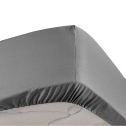 Drap housse anthracite 180 x 200 cm en percale bonnet de 30 cm