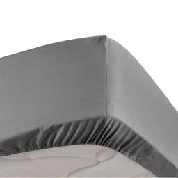 Drap housse anthracite 90 x 190 cm en percale Bonnet de 30 cm