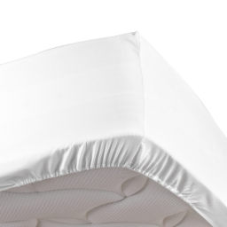 Drap housse blanc 140 x 190 cm en percale bonnet 30 cm