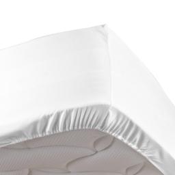 Drap housse blanc 160 x 200 cm en percale bonnet de 30 cm