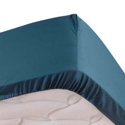 Drap housse bleu 160 x 200 cm en percale bonnet de 30 cm