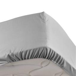 Drap housse gris 90 x 190 cm en percale Bonnet de 30 cm