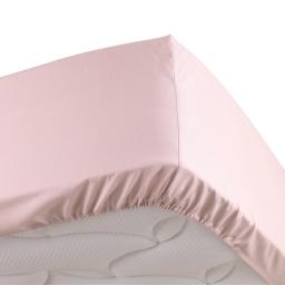 Drap housse rose 140 x 190 cm en percale bonnet 30 cm