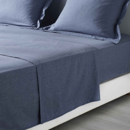 Drap plat 1 personne 180 x 290 cm polycoton uni actually  +point bourdon Bleu
