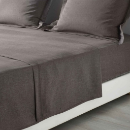 Drap plat 1 personne 180 x 290 cm polycoton uni actually  +point bourdon Noisette