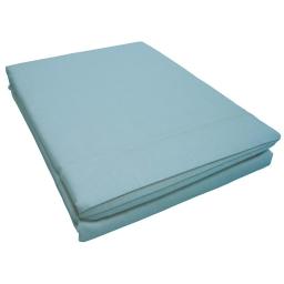 Drap plat 1 personne 180 x 290 cm uni 57 fils lina  + point bourdon Aqua
