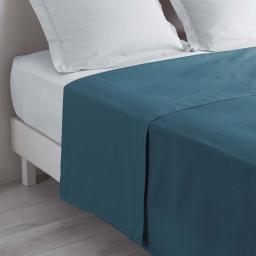 Drap plat 1 personne 180 x 290 cm uni 57 fils lina  +point bourdon Bleu nuit