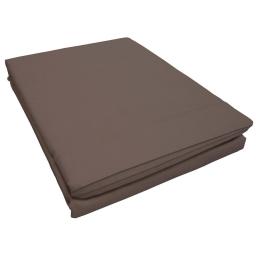 Drap plat 1 personne 180 x 290 cm uni 57 fils lina  + point bourdon Noisette
