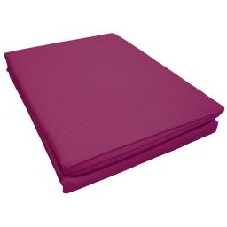 Drap plat 1 personne 180 x 290 cm uni 57 fils lina  + point bourdon Violette