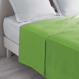 Drap plat 1 personne 180 x 290 cm uni 57 fils lina Vert