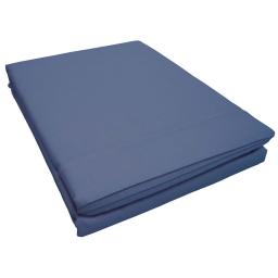 Drap plat 2 personnes 240 x 300 cm uni 57 fils lina  + point bourdon Azur