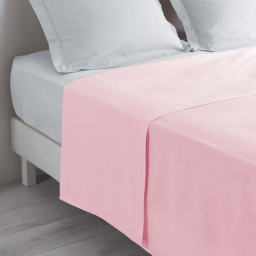 Drap plat 2 personnes 240 x 300 cm uni 57 fils lina  +point bourdon Rose clair