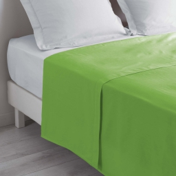 Drap plat 2 personnes 240 x 300 cm uni 57 fils lina Vert