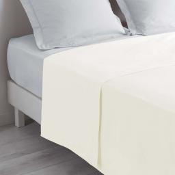 Drap plat lit 1 personne 180 x 290 cm 100% coton 57 fils couleur Naturel