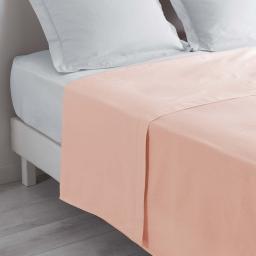 Drap plat lit 1 personne 180 x 290 cm 100% coton 57 fils couleur Nude