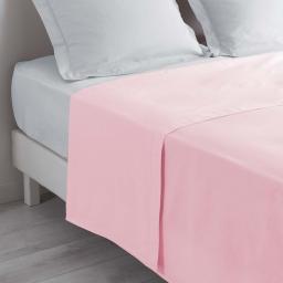 Drap plat lit 2 personnes 240 x 300 cm 100% coton 57 fils couleur Rose clair
